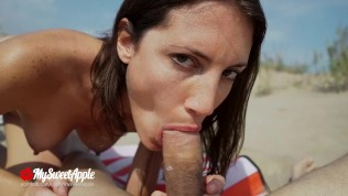 Sex on the Beach! We let a fan Watch - Nudist Amateur MySweetApple