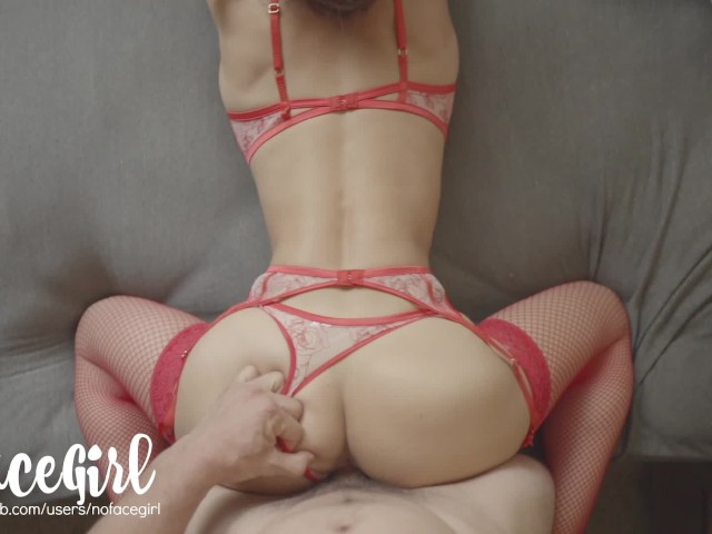 The Red Lady - Fit Amateur Babe Noface Girl Fucks in Red Sexy Lingerie