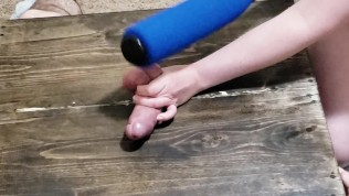 amateur girlfriend tenderizes my balls with ballbusting. bat & paddle