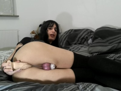 Emo trap in chastity fucks dildo and eats her ruined orgasm