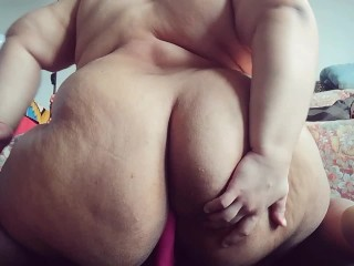 fat round ass trans bbw rides dildo and CUMS hands free