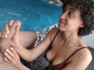 She swallow it all! big cumshot in mouth after sensual blowjob