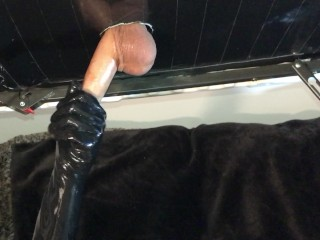 Cock Milking Table With Latex Gloves, BIG CUMSHOT