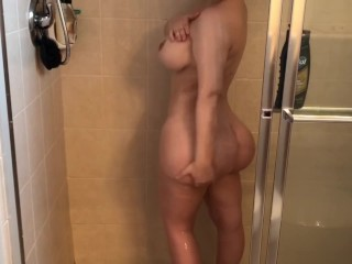 Spying on big tits and ass in the shower then fucked her hard