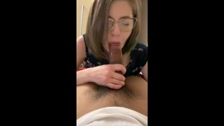Freaky bitch in glasses swallows my cum