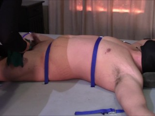 Extreme CBT pain on cock along with balls from Hard Heat along with Candle Wax.