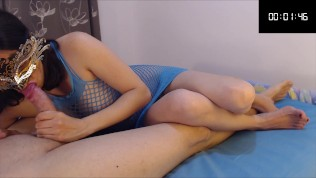 She keeps sucking him for 3 minutes after he cums (post orgasm)