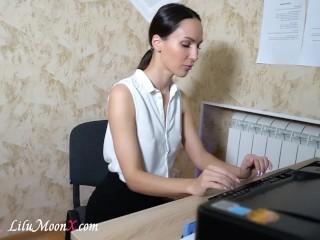 Office Secretary Fingering Wet Pussy after long day - Lilu Moon