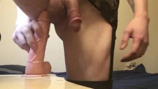 "Sissy boi Sucks,Fucks,Fists,&Gapes Asshole with 7""dildo!"