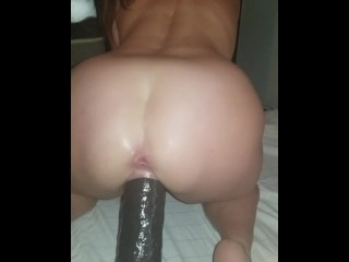 Bitch lover lip grips and unhurried smashes her great 13 inch shaft making him watch