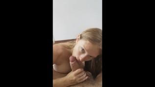 Girlfriend Swallow All After DeepThroat and Titjob