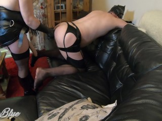 Fun Wife Pegging Husband in the Ass with Huge Anal Dildo - Can He Take it?