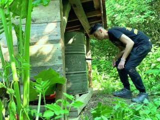 Perv farmer boy sucks and rides black dildo outdoor