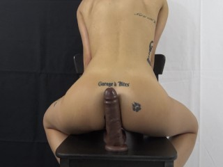 Reality Popes :I fuck for the first time the ass on the chair with my dildo