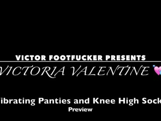 VICTORIA VALENTINE in VIBRATING PANTIES AND KNEE HIGH SOCKS - Tickling Feet