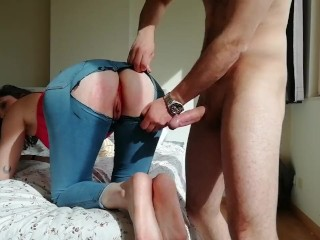 I spank her red ass, spit on her wet pussy, and fuck her in ripped jeans N2