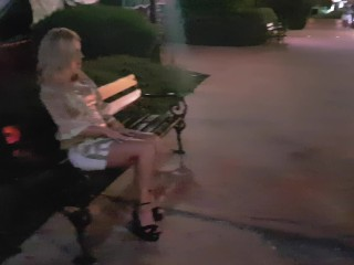 Masturbation in front of  tourists  in public central city, pee on street