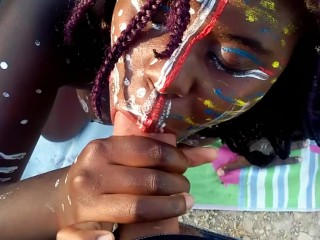 JUICY EBONY IN TRIBAL PAINT INTERRACIAL BLOWJOB IN THE WOODS PUBLIC CUM POV