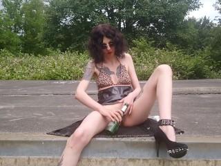 horny slut Lucy Ravenblood outdoor beer bottle fuck