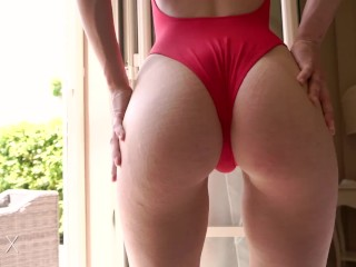 Young amateur babe in red swimsuit fucks reverse cowgirl for a creampie !