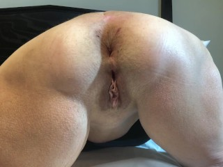 Milf Anal Training HUGE Butt Plug Mature 60 year old wife granny brunette
