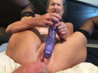 Hot Milf Fucks Big Dildo Gets Face Fucked And Orgasms Mature Granny