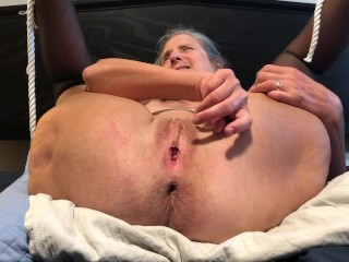 Hot Milf Masturbates With Black Rabbit and Anal Beads Mature Granny 60 year