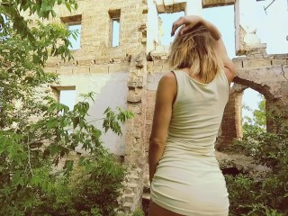 Sweet teen with nice ass gets fucked in old farmstead. Amateur outdoor POV