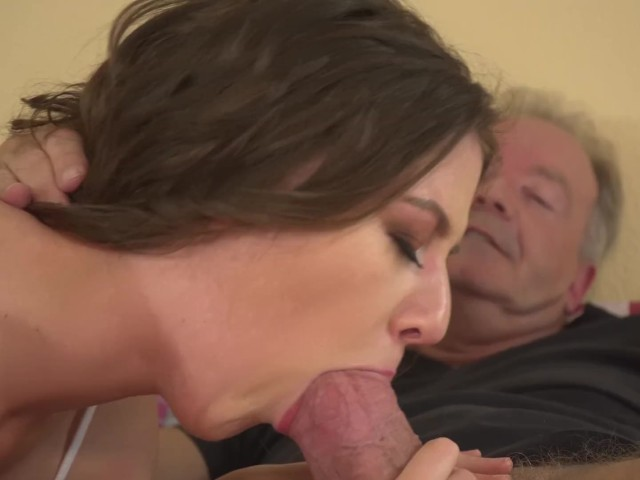 Teenie Young Pussy Fucked Hardcore by Old Man and She Swallows Cum