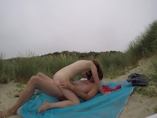 Beach amateur couple.