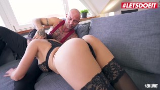 LETSDOEIT - Kinky Brunette In Lingerie Gapes Her Ass For A Big Cock