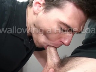 Attractive Cum Eating Cock Sucker Swallows Massive Load from Big Hard Dick