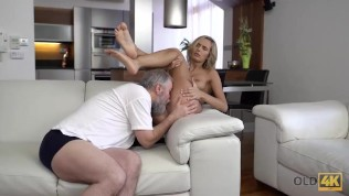 OLD4K. Old man knows how to satisfy all sexual needs of blonde lady