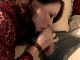 Mature Milf Wife Gives Sensual Blowjob to Husband and Drains His Cum