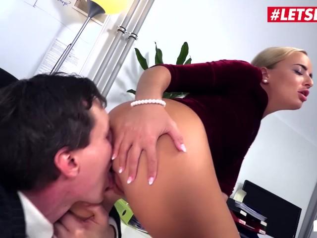 Letsdoeit - Hot German Secretary Swallows a Huge Load From Her Boss
