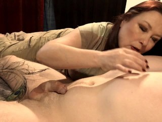 My Hot Milf Wife Gives Me An Amazing Handjob With Nipple Play and Cumshot