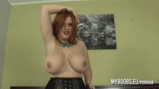 Big boobs redhead in stockings and high heels Alexsis Faye