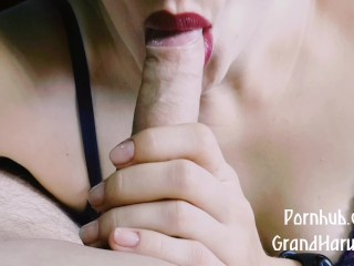 GrandHarwest.POV. Sucked and masturbated on the tongue. Cum in mouth.