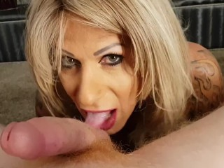 MILF Trans Stepmom gives the best blowjob with huge cum facial ( POV )