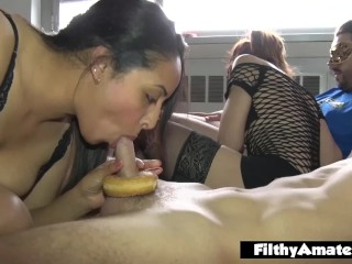 A real homemade orgy with donuts and two milf wife