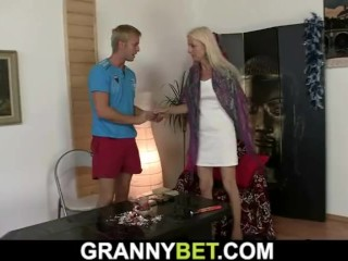 hot blonde granny loves sucking and fucking his meaty hard dick