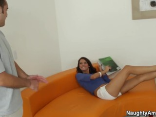 Naughty America Erin Stone hard fucking in the chair with her small boobs