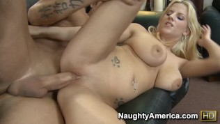 Naughty America Haley Cummings hard fucking in the couch with her tattoos