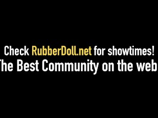 Lesbian Latex Dom RubberDoll Dildo Fucks Slave Diabolica With Blowup Toy!