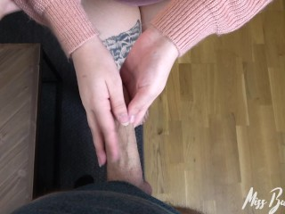 Girl plays with vibrator with Cum on her face after getting Fucked doggy!
