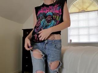 Stripping & Cumming LIttle Strip tease teen orgasms