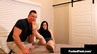 Pale Milky White Brunette Jasmin Jai Gives A Hot Oiled Up Footjob!