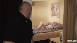 Teen girl gets horny and fucks old man cock then tastes his cum