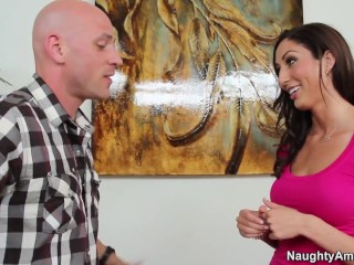 naughty america - hot brunette babe gets pile drived by big cock
