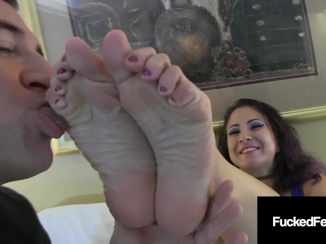 Foot Fucking Gia Love Gives a Lucky Cock a Sock & Barefoot Stroking!